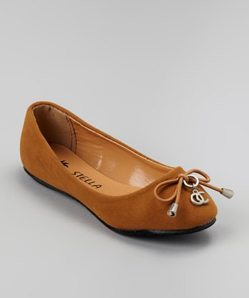 Tan Bow Face Ballet Flat