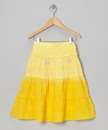 Yellow Flower Embroidered Skirt - Toddler & Girls