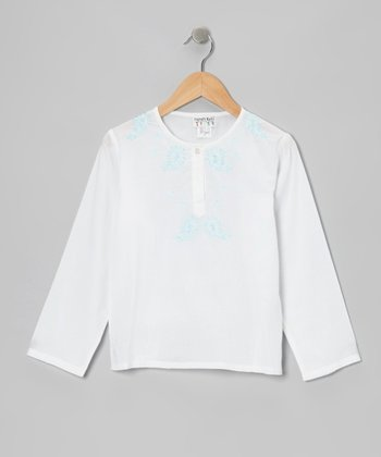 White & Turquoise Embroidered Tunic - Girls