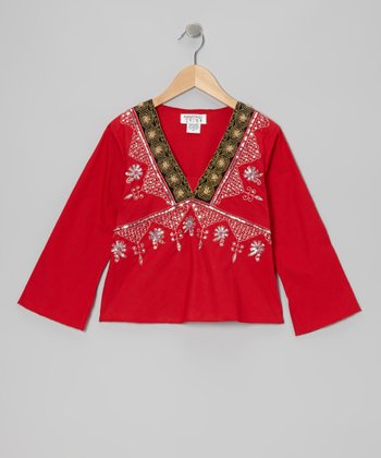 Red Embroidered V-Neck Top - Girls