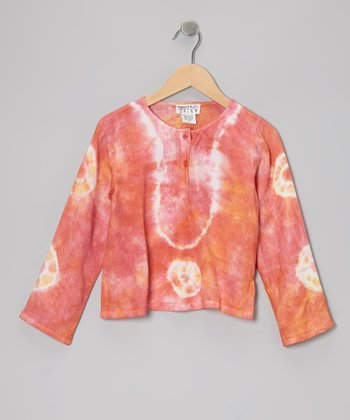 Pink & Orange Tie-Dye Embroidered Top - Toddler & Girls