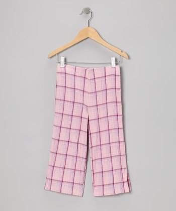 Pink Plaid Crinkle Pants - Toddler & Girls