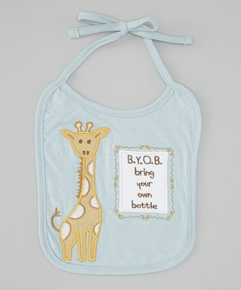 Blue 'Bring Your Own Bottle' Giraffe Bib