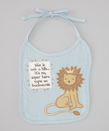 Blue 'Hero Cape on Backwards' Lion Bib