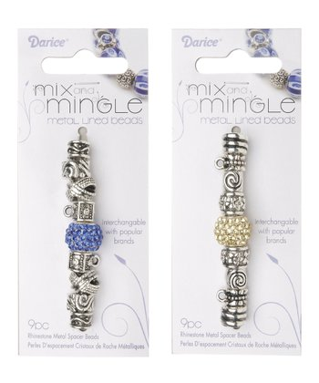 Silver & Blue Metal Spacer Bead Set