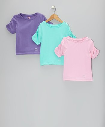 Purple, Aqua & Pink Charleston Tee Set - Toddler & Girls