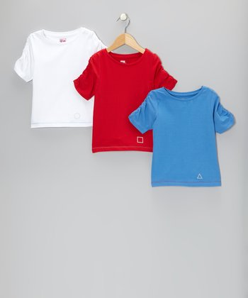 White, Red & Blue Charleston Tee Set - Toddler & Girls