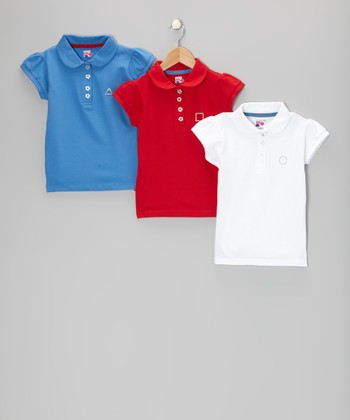 Blue, Red & White Savannah Polo Set - Toddler & Girls