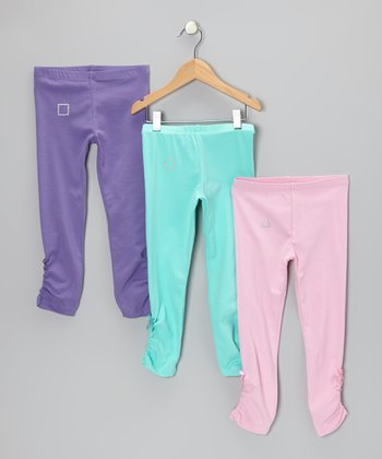 Purple, Aqua & Pink Alexandria Bow Leggings Set - Toddler & Girls