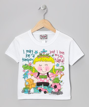 White 'Tomboy' Tee - Toddler & Girls