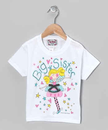 White & Yellow 'Big Sister' Tee - Toddler & Girls