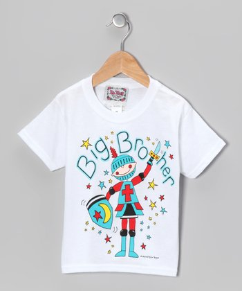 White & Blue 'Big Brother' Tee - Boys