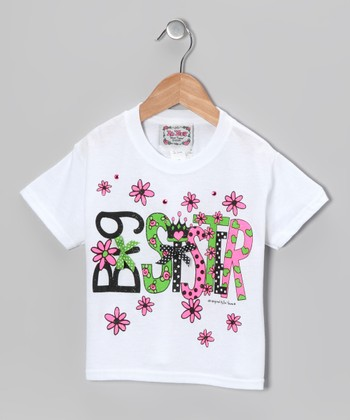 White & Green 'Big Sister' Tee - Girls
