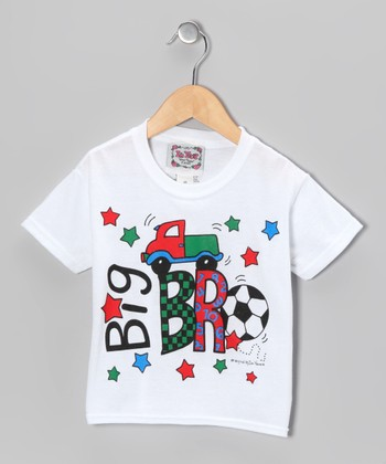 White & Red 'Big Bro' Tee - Boys