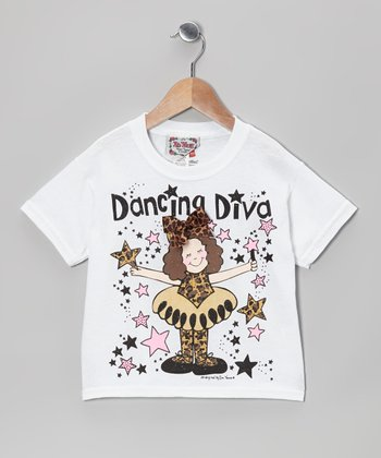 White 'Dancing Diva' Tee - Toddler & Girls