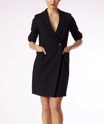 Black Lapel Faux Wrap Dress