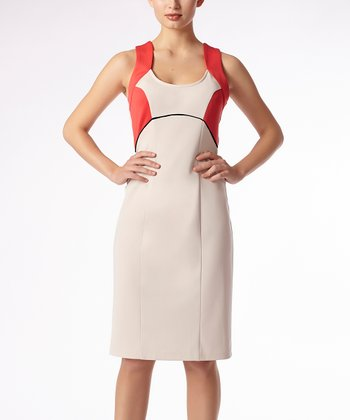 Beige & Coral Vestry Empire-Waist Dress