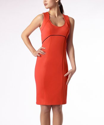 Coral Pearl Empire-Waist Dress