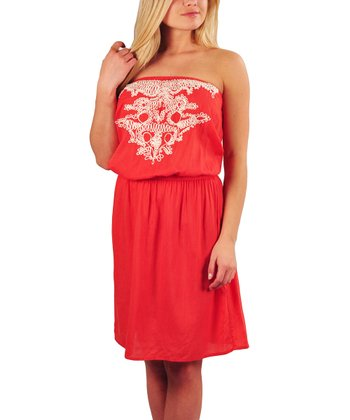 Coral Blouson Strapless Dress