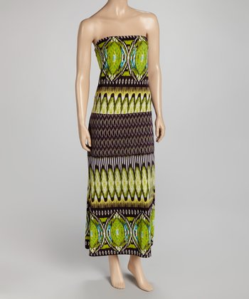 Green Strapless Maxi Dress