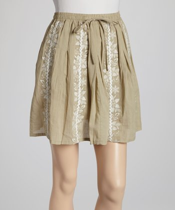 Tan Embroidered Stripe Skirt