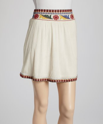 Cream Embroidered Skirt