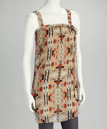 Tan Tribal Sleeveless Tunic