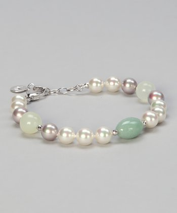 Pearl & Green Quartz Beaded Bracelet