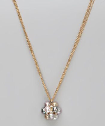 Gold & Pearl Cluster Pendant Necklace
