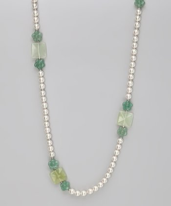 Green Quartz & Pearl Graduated Necklace