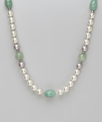 Green Quartz & Jade 18'' Pearl Necklace