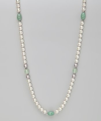 Green Quartz & Jade 36'' Pearl Necklace