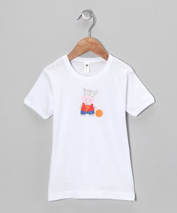 White Hippo Basketball Tee - Toddler & Boys