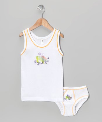 White Sea Turtle 'Aquatic' Tank & Underwear - Toddler & Boys