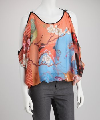 Black Geisha Silk-Blend Bubble Hem Cutout Top