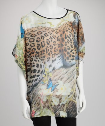 Black Cheetah Silk-Blend Dolman Tunic