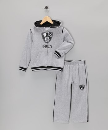 Gray Brooklyn Nets Hill Zip-Up Hoodie & Pants - Toddler