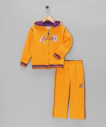 Gold Los Angeles Lakers Hill Zip-Up Hoodie & Pants - Toddler