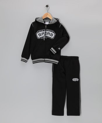 Black San Antonio Spurs Hill Zip-Up Hoodie & Pants - Kids