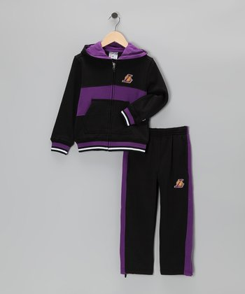 Black Chones Los Angeles Lakers Zip-Up Hoodie & Pants - Kids