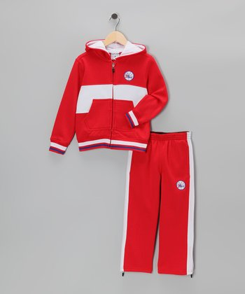 Red Chones Philadelphia 76ers Zip-Up Hoodie & Pants - Kids