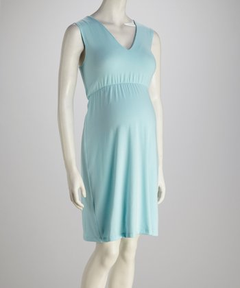 Aqua Maternity V-Neck Dress