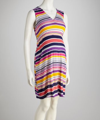Fuchsia & Navy Stripe Maternity V-Neck Dress - Women