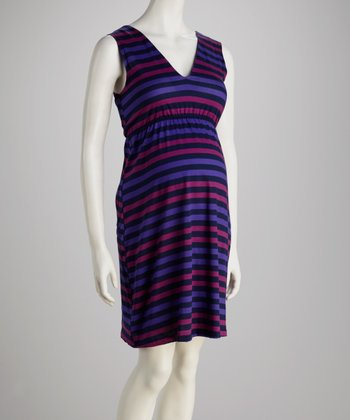 Purple & Navy Stripe Maternity V-Neck Dress - Women