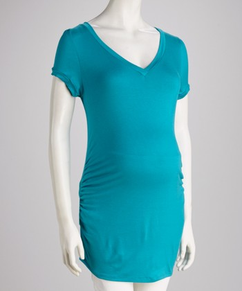 Teal Maternity Short-Sleeve Tunic