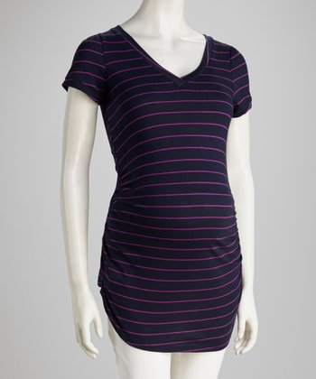 Navy & Purple Stripe Maternity Short-Sleeve Tunic