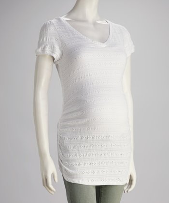 White Eyelet Maternity V-Neck Tunic