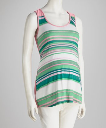 Green & Pink Stripe Maternity Tank Top - Women