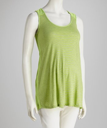 Lime & Gray Stripe Maternity Tank Top