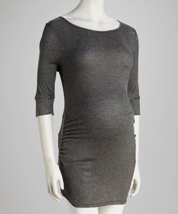Charcoal Three-Quarter Sleeve Maternity Tunic